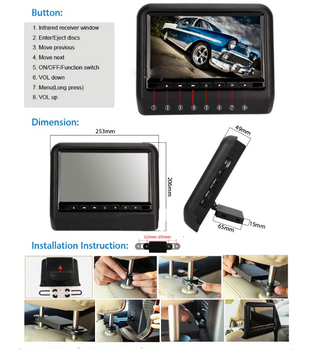 Cheaper price 9 inch TFT LCD HD Universal lcd car tv monitor Bluetooth headrest monitor DVD