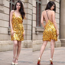 Women's Sexy Strappy Backless DeepV Neck Party Sequin Sundress Dress