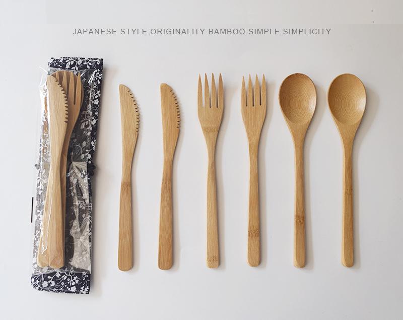 Fabriek groothandel 100% biologisch afbreekbaar keuken tool handgemaakte 3 stks bamboe lepels mes spork set