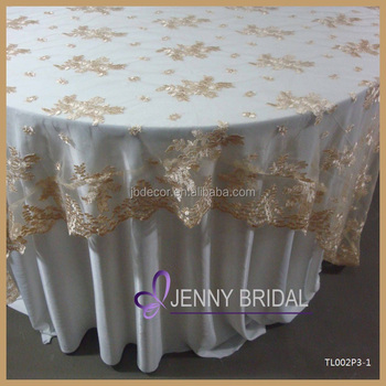 tl002r2 alibaba embroidery gold lace round cheap wedding table overlay wedding table cloth