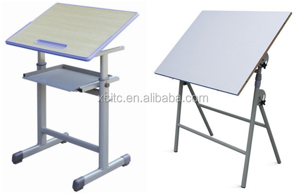 wood top drafting table with plastic injection molding edge sealing mdf drawing desk - Drawing Desk