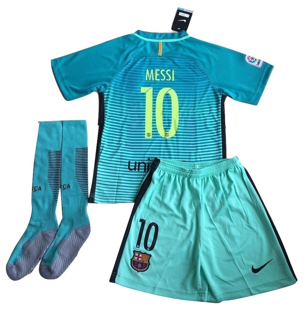 a9b268ca7f9 ... canada 2016 2017 messi 10 fc barcelona champions league third jersey  shorts and socks for ab845