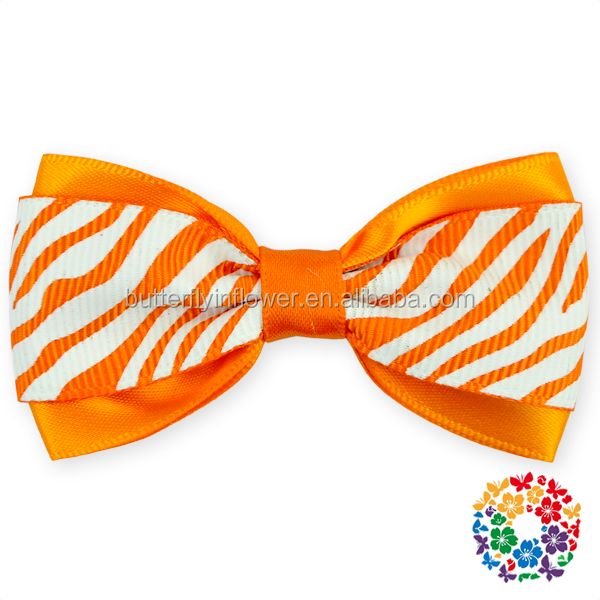 Hot Sell Orange Stripe Printed Cute Large Big Satin Hair Bow Hair Clip Girls Boutique Ribbon Bows