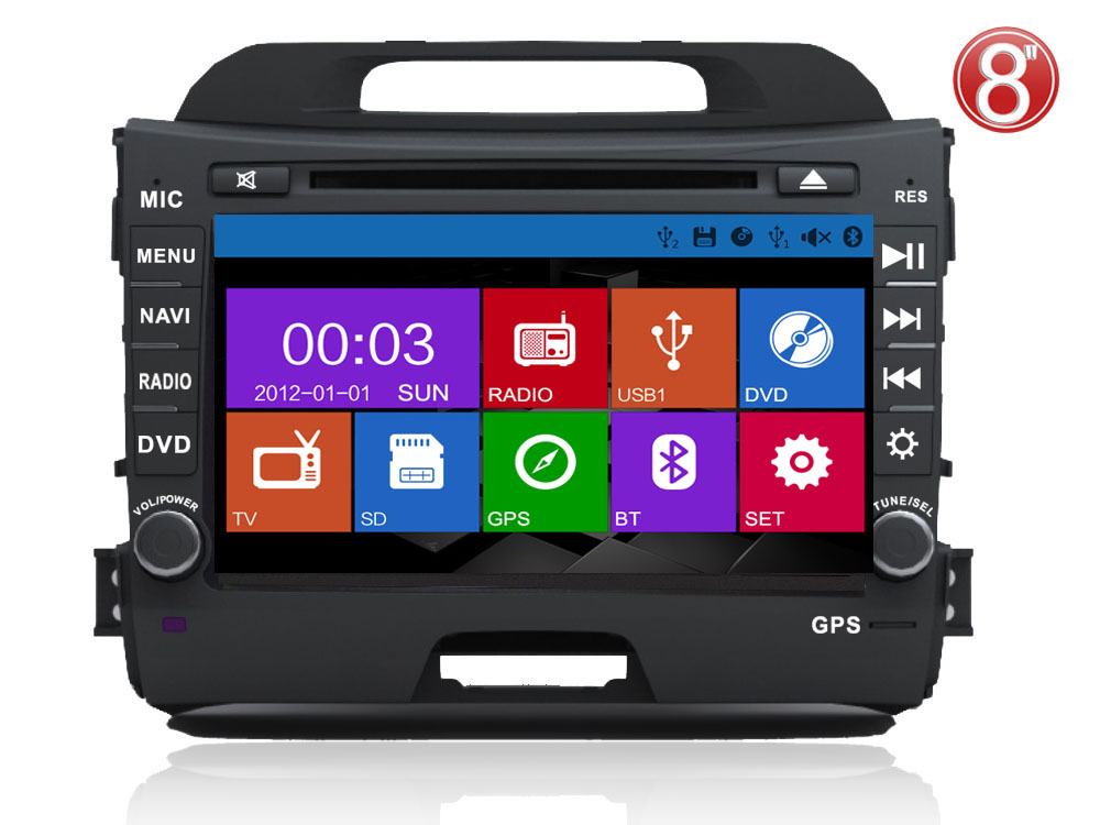 ugode Car Stereo 2 din for Kia Sportage DVD With Built in DVD GPS Radio Bluetooth USB IPOD
