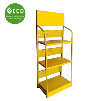 Bright Yellow Custom Color Size Metal Iron Display Rack Shelf
