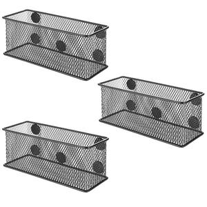 Magnet Pen Organizer of 3 Black Metal Wire Mesh Magnetic Storage Basket for office
