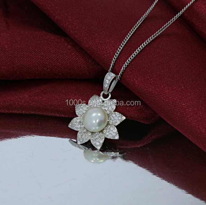 Sunflower bridal 925 silver natural pearl set, Pendant/Earring Set Wholesale, Costume Acessories