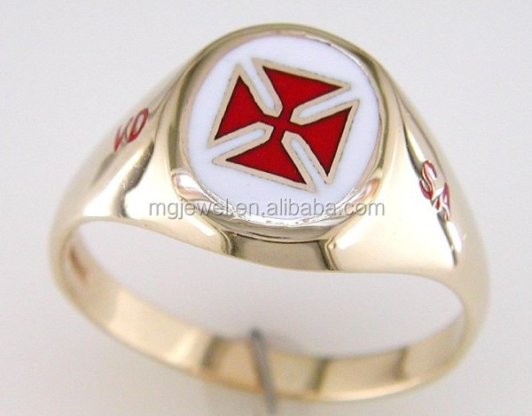 Gold scottish knights templar masonic ring