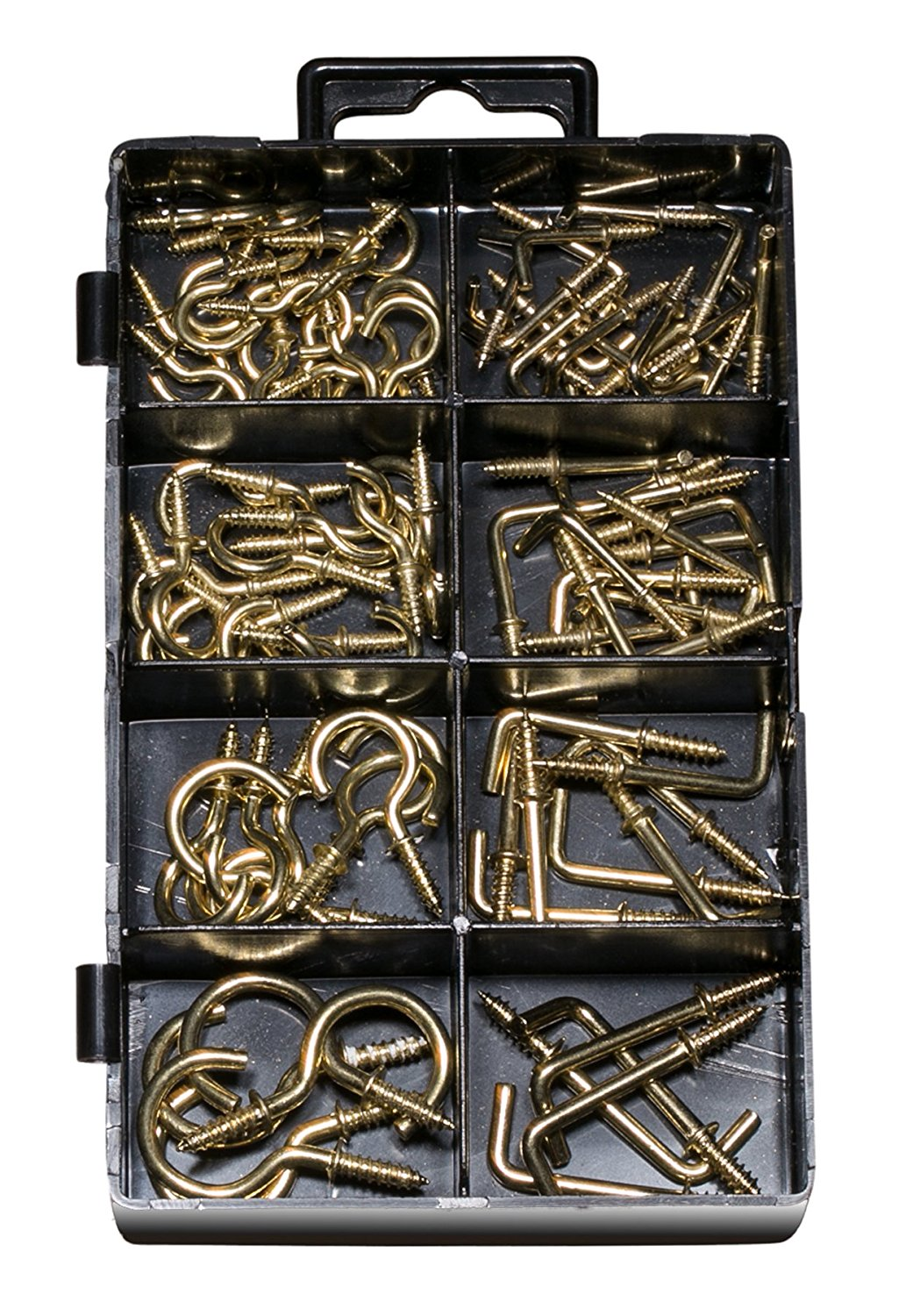 """90 Pieces Cup Hooks Assortment Kit, Hook for Cups, Ceiling, Mobiles, Wind Chimes, Lanterns and More, Cup Hook 3/8"""" - 6/8"""", Square Hooks 1/2"""" – 1""""."""