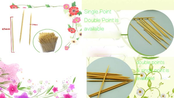 2.0mm diameter cocktail picks custom mini wooden/bamboo toothpicks