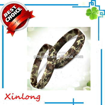 2017 The Most Promotion Camouflage Silicone Bracelet Professional Wristband Factory