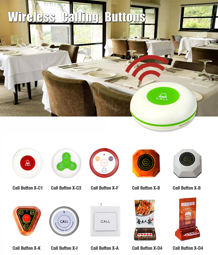 2018 new wireless Waiter Call System button Restaurant And Restaurant calling system