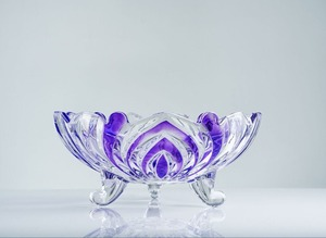 large antique purple flower shaped embossed glass fruit candy bowls with foot