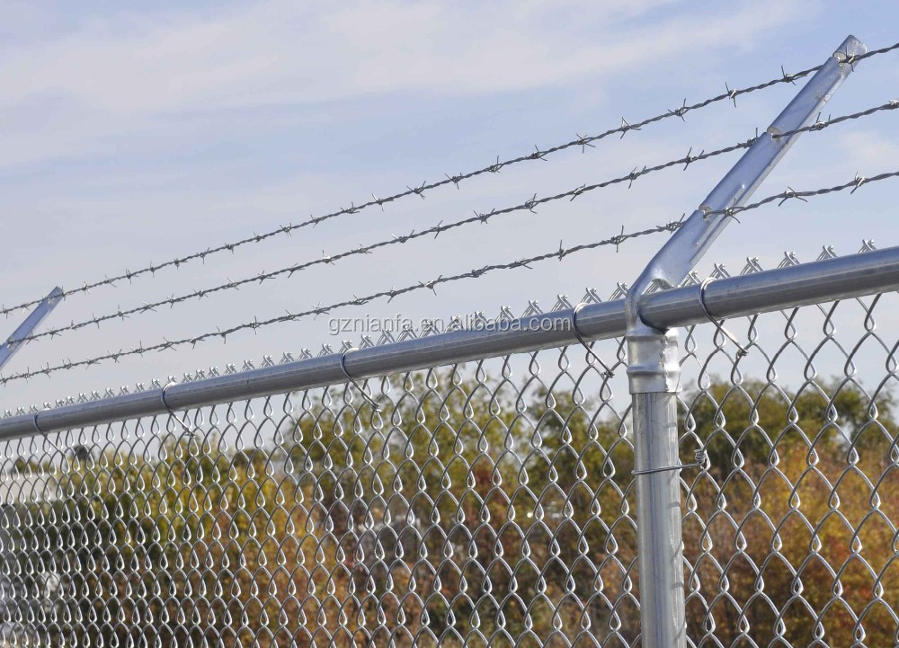Galvanized secuirty chain link fence top barbed wire for