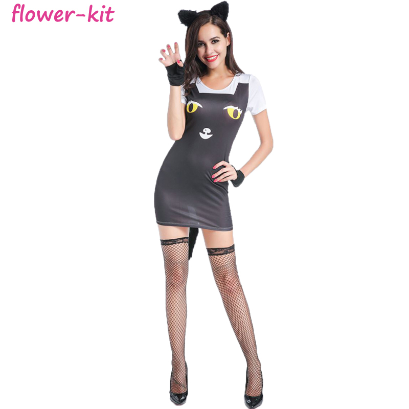 Sexy Cat woman Costume New Hot Halloween Dress Sexy Costume Adult Cat Gothic Cosplay For Women