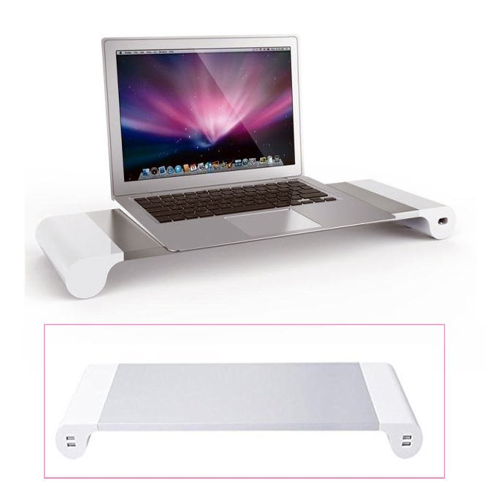 Eplze Aluminum Laptop Monitor Stand Space Bar - Monitor Riser - MacBook Monitor Dock Desk Organizer with 4 USB Ports, Aluminum Monitor Stand with 4 USB 3.0 Hub