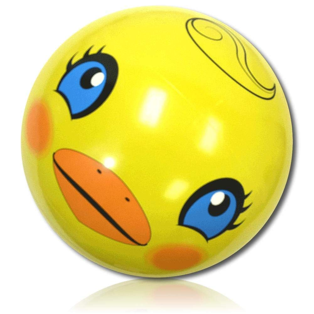"""ULTRA Durable & Custom {24"""" Inch} 1 Single of Large-Size Inflatable Beach Ball for Summer Fun, Made of Lightweight FLEX-Resin Plastic w/ Cute Cartoon Rubber Ducky w/ Face & Back Style {Yellow}"""