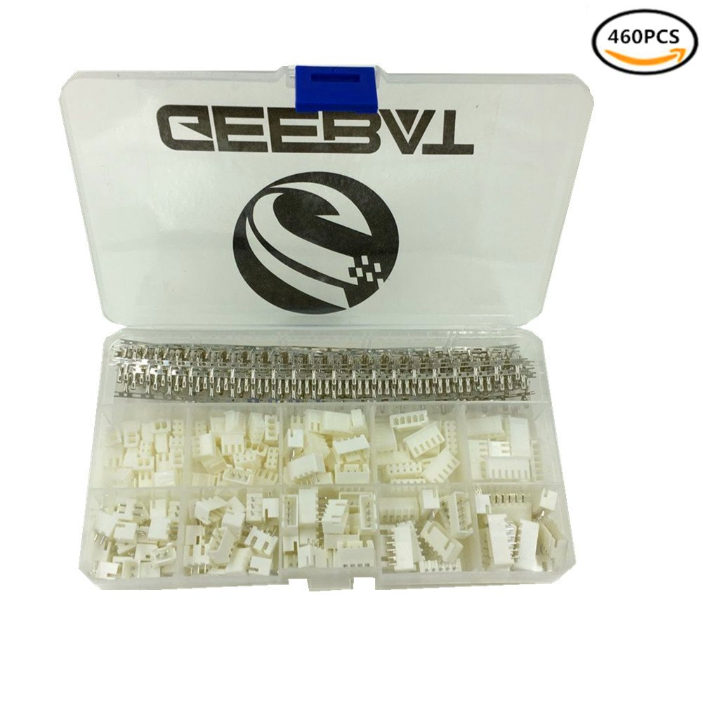 GeeBat 460pcs 2.54mm JST-XH Connector Kit with 2.54mm Female Pin Header and 2/3 / 4/5 / 6 Pin Housing Connector Adapter Plug (JST Connector Kit)