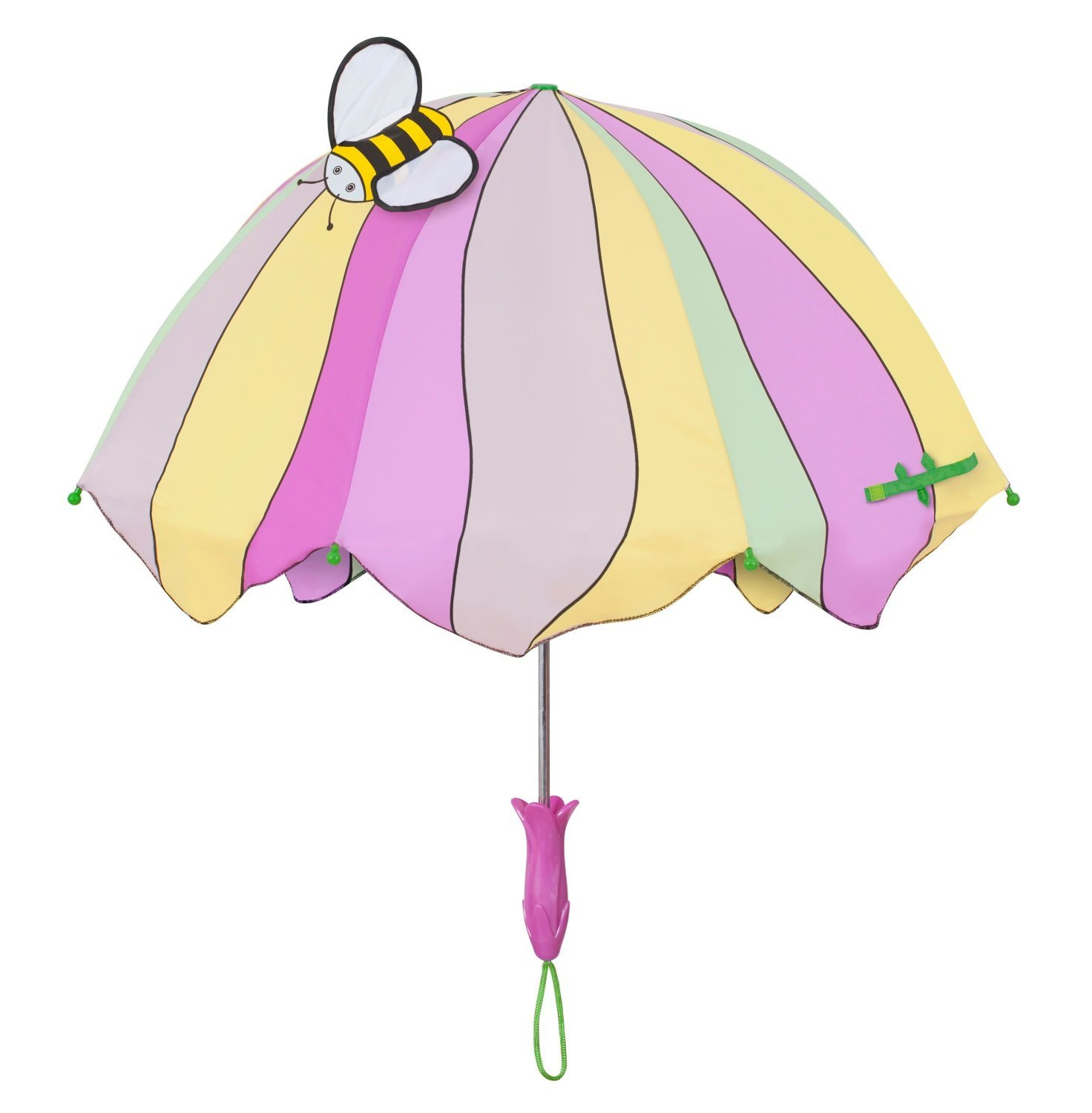 Kidorable Lotus Childrens Kids Girls Nylon Rain Umbrella (Pink/Purple/Yellow)