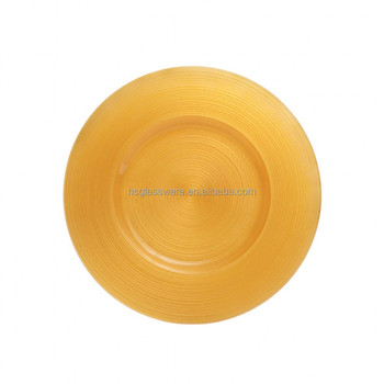 wholesale Ripple Glass Charger Plates-Yellow