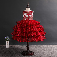 New arrival summer kid frocks for 6 years old Sequined Princess Dress for wedding kid wear red party dress