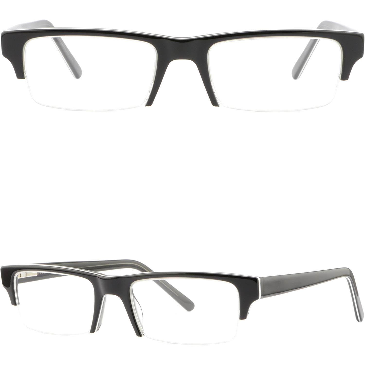e0b86544734 Get Quotations · Half Rim Plastic Frames Spring Hinges Mens Womens  Prescription Eye Glasses Black
