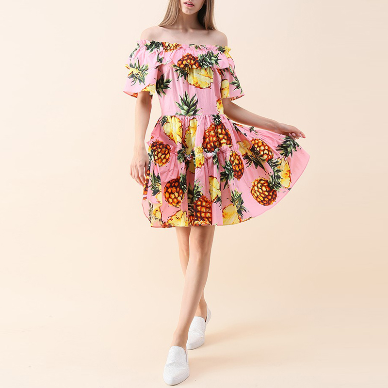 Pink Swing with Pineapple Off-shoulder Designer Dresses From China