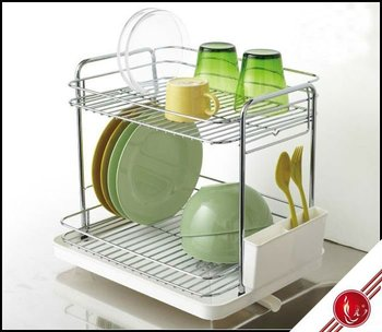 Lfr1249 Green Color Two Tier Dish Drainer