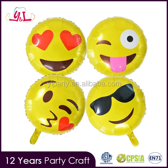 18 Inch Online Shopping Crown Foil Emoji Balloon For Birthday Decor Party Supplies