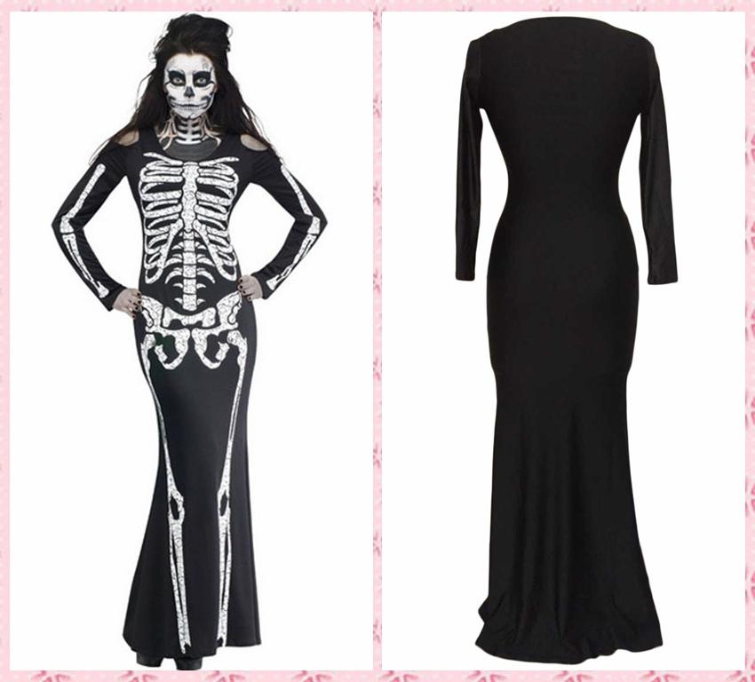 Get Quotations · 8877 New Women Black Punk Skeleton Print Dress Summer Sexy  Sleeveless Gothic Punk Bone Print Bodycon b7cf8fc7d28e