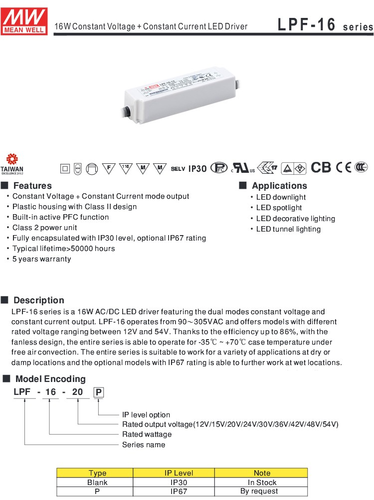 MW Mean Well LPF-16-54 54V 0.3A 16.2W Single Output Switching with PFC LED Power Supply