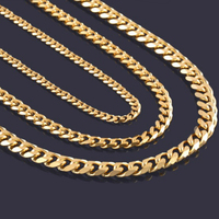 High Quality Width 3.5mm/ 5mm/7mm Stainless Steel Gold Cuban Chain Waterproof Men woman Curb Link Necklace Various Sizes