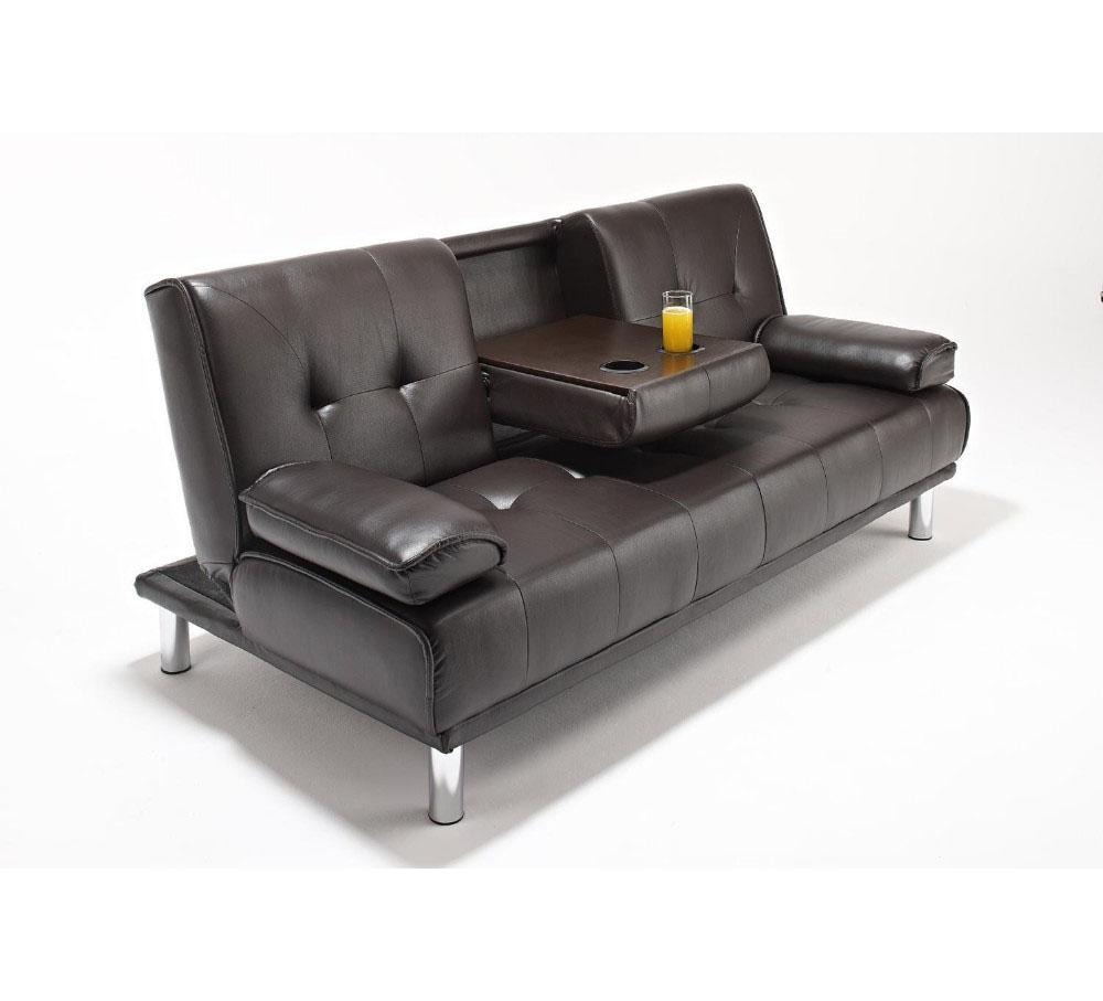 - Guangzhou Modern Folding Futon Cheap Leather Sofa Bed With Cup