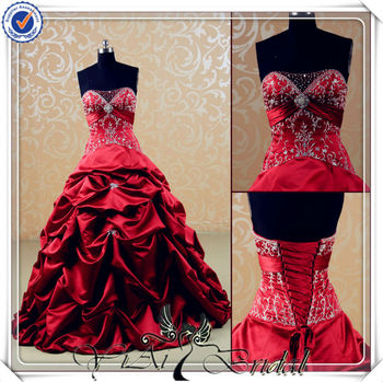 Jj3540 Puffy Embroidery Beautiful Red Wedding Dress For Sale - Buy ...