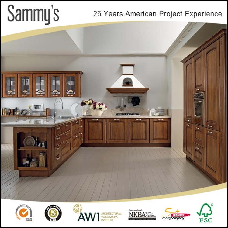 Solid Wood Cherry Kitchen Cabinets: 2019 New Modern American Design Cherry Solid Wood Kitchen