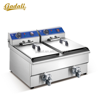 Double baskets stainless steel hot dog fryer machine french fries,doughnut fryer