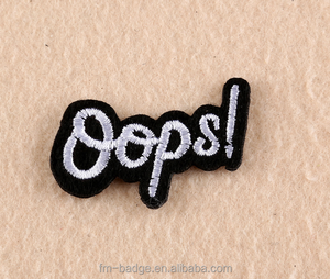 "Logo customWord ""OOPS"" Patch sew On / Iron On DIY Patch Embroidered Applique,Wholesale letter OOPS patches work blouse designs"