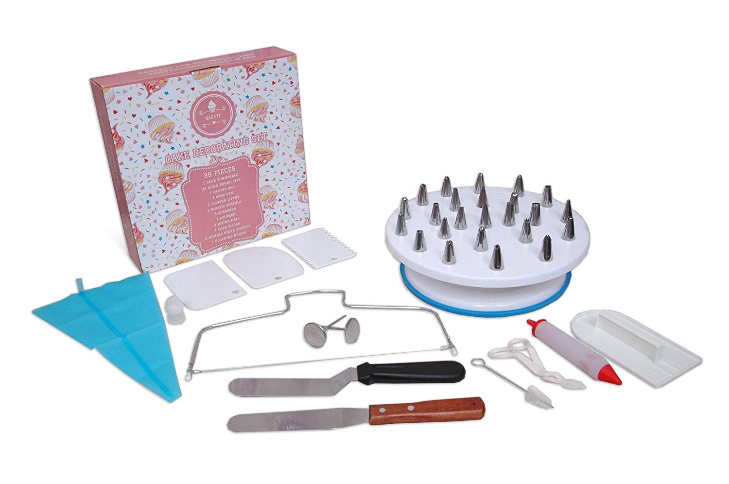Cake Decorating Supplies By Bake'it | Cake Decorating Kit Includes: Rotating Cake Turntable, Numbered Easy to use Icing Tips, Reusable Silicone Pastry Bag, Cake Leveler and other Cake Decorating Tools