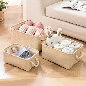 Eco-Friendly toy basket jute Storage Box with handle