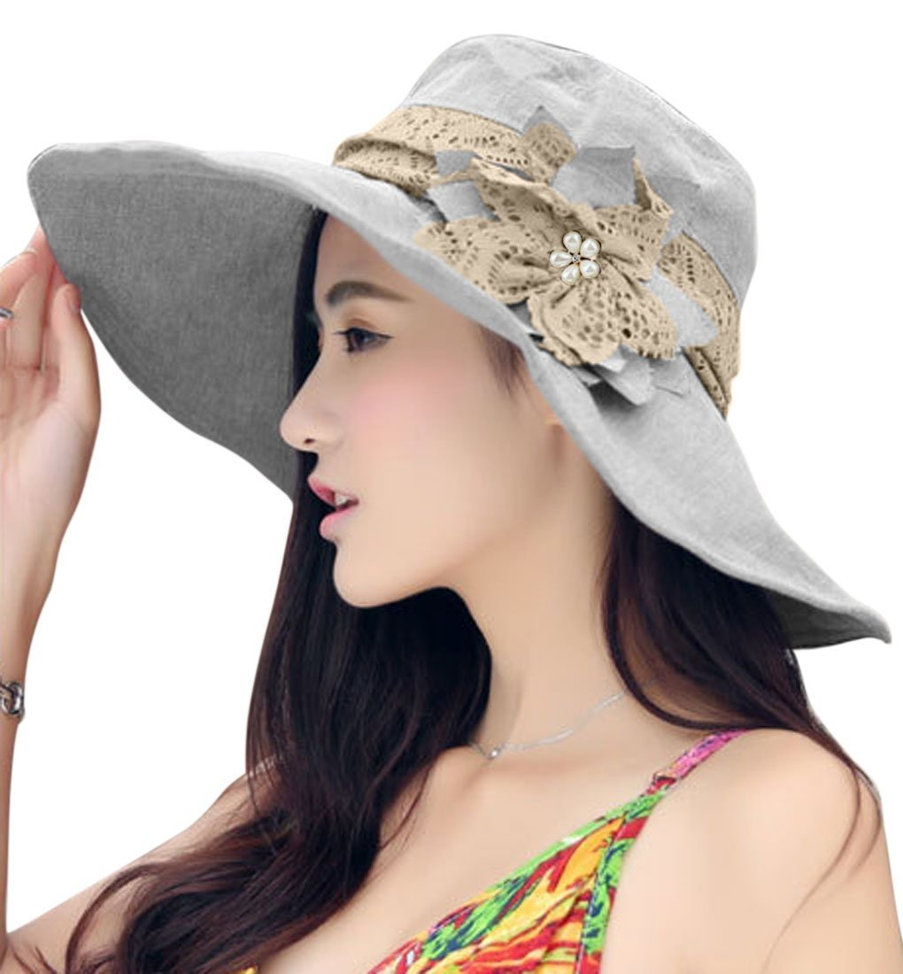 Womens Ladies Girls Elegant Lace Flower Floppy Foldable Sun Hat Packable  Summer Camping Fishing Travel Beach ad887548d1a6