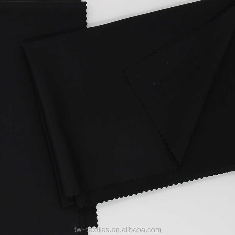 85% Nylon 15% Spandex Elastane Interlock Lycra Knitted fabric in Black Color