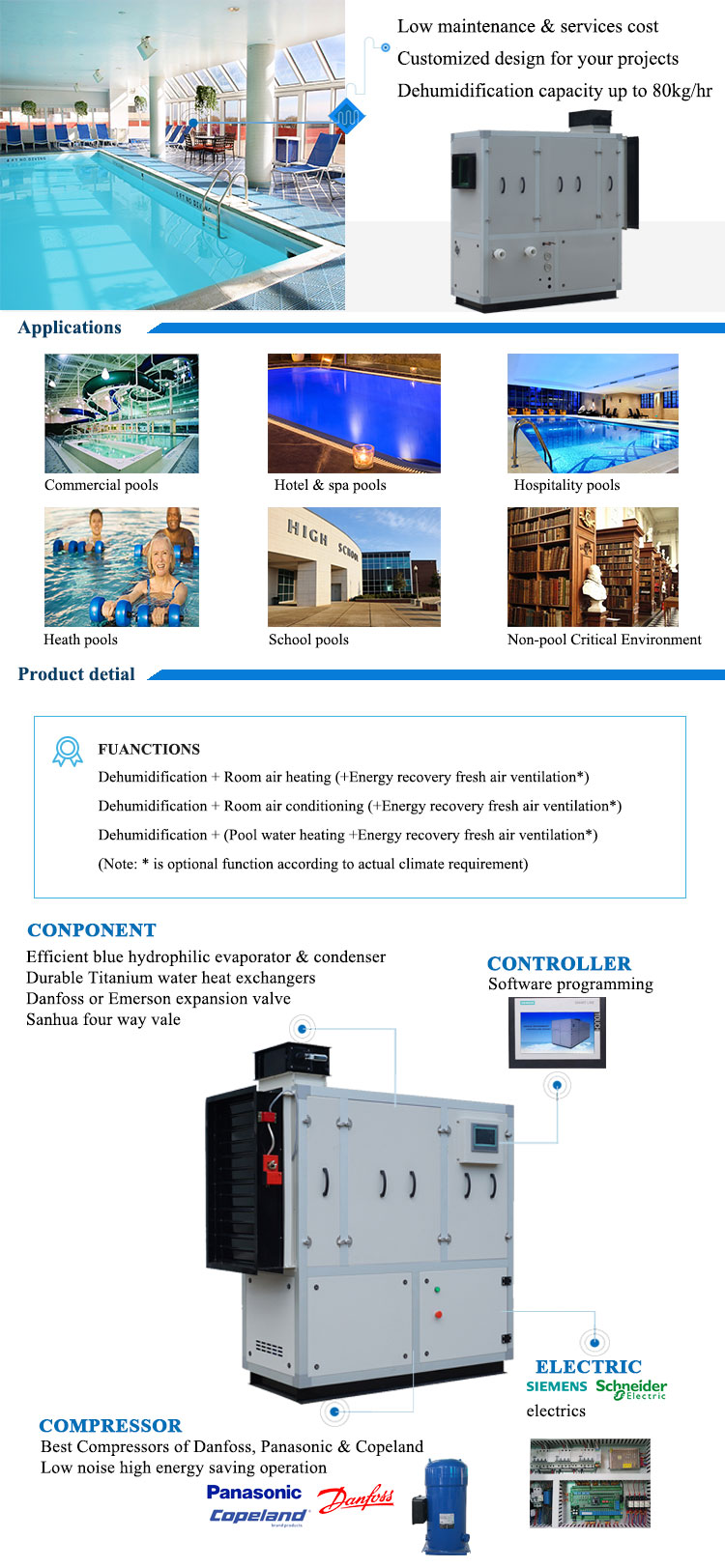 Altaqua 15L/h industrial dehumidifier machine for swimming pool