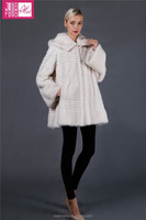 Very Warm Winter Women White fur coat with Hooded Europe Style
