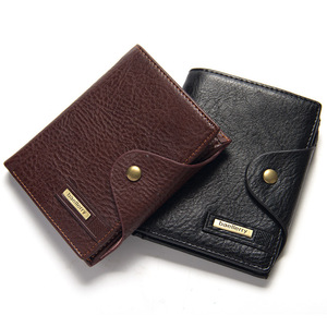 Wholesale Casual Black Brown PU Baellerry Short Section Wallet For Men With Button