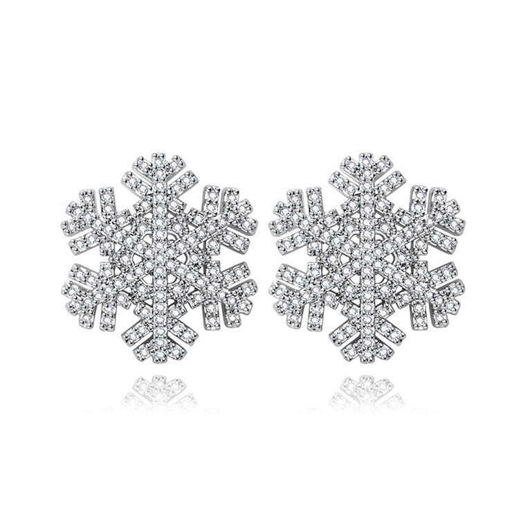 pretty snow in winter high quality ladies exquisite zircon jewelry earring set
