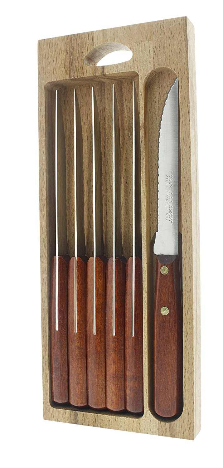Nogent Steak Knives Stainless Steel - Gift Box Set of 6 - Stained Wood Handles - 4.25""
