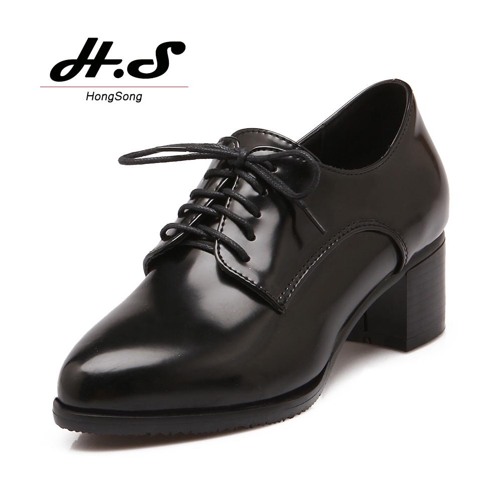 Womens White Chunky Heeled Oxford Shoe