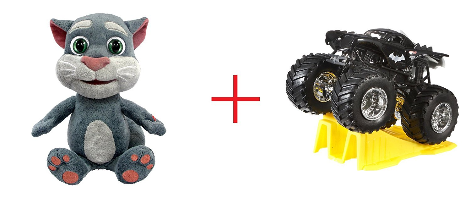Talking Tom Talk Back Animation and Hot Wheels Monster Jam 1:64 Scale Diecast Truck (Colors/Styles May Vary) - Bundle
