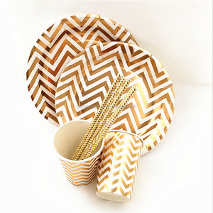 "Wholesale Round Paper Tableware of 9"" Gold Chevron Paper Plates Cups Napkins"