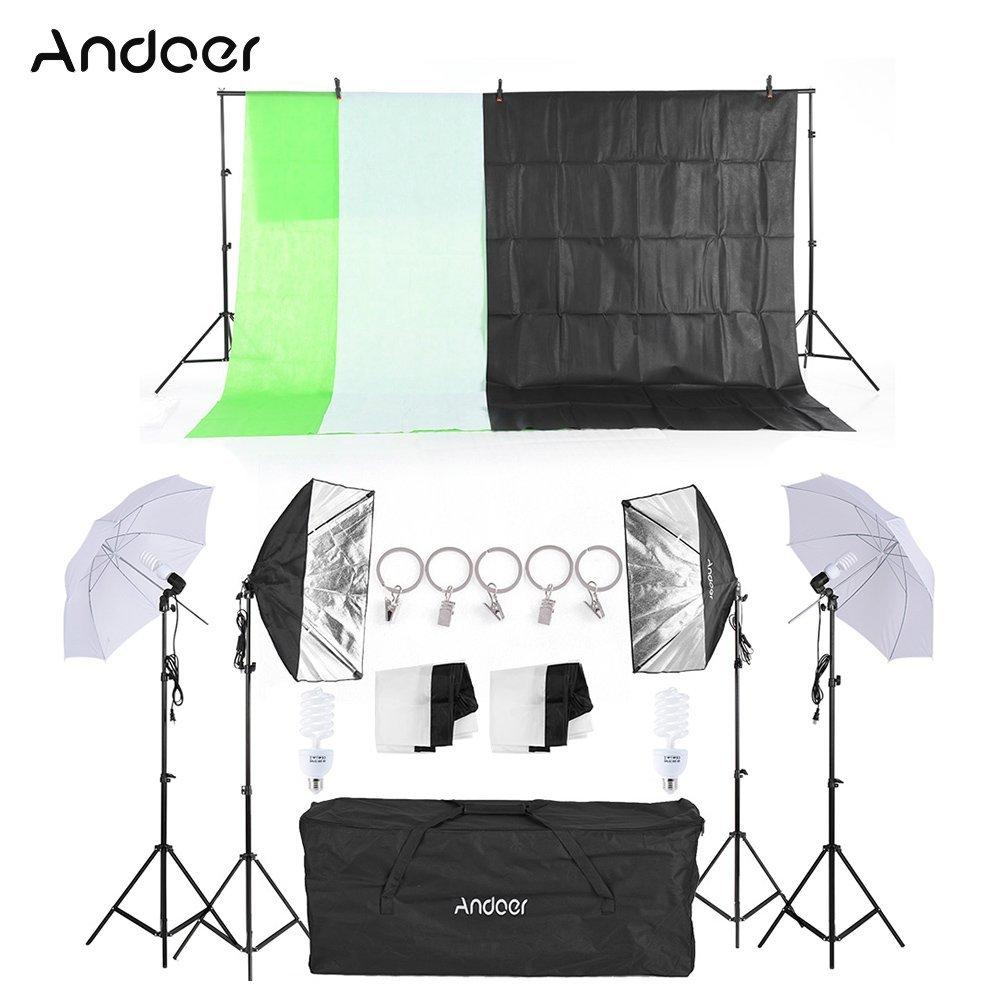 "Andoer Photography Studio Softbox Lighting Kit 2Pcs 33"" White Soft Light Umbrella 2Pcs 50x70cm Softbox 4Pcs 45W Light Bulb and 2x3m Backdrop Stand Set with 1.5mx3m Black White Green Backdrops"